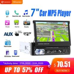 7''telescopic Touch Auto Stereo Audio Radio Gps Navigatie Intrekbare Autoradio Met Bt DVDMP5 Sd Fm Usb Speler Achteruitrijcamera