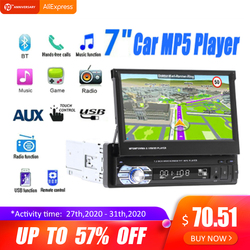 Radio de Audio estéreo para coche de 7 pulgadas, táctil, telescópico, navegación GPS, Autoradio retráctil con BT DVDMP5 SD, FM, reproductor USB, cámara de visión trasera