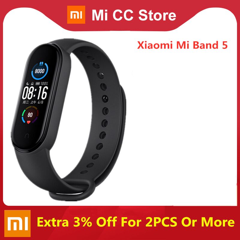 Original Xiaomi Mi Band 5 Smart Wristband 4 Color Heart Rate Fitness Tracker Bluetooth Sport Bracelet AMOLED Screen Miband 5