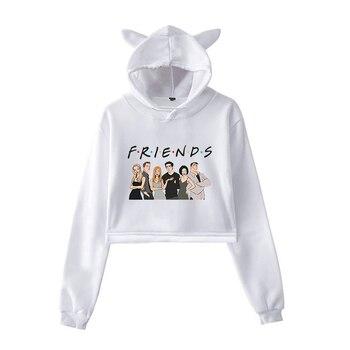 Cute Womens Sweatshirts Hoodie Crop Tops Cat Ear Long Sleeve Friends Tv Show Print Sweatshirt Hooded Pullover Autumn Streetwear bow back two tone cat ear hoodie