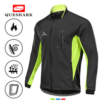 Queshark Men Winter Fleece Thermal Waterproof Cycling Jacket Windproof Bike Coat Bicycle Clothing Long Sleeve Cycling Jerseys
