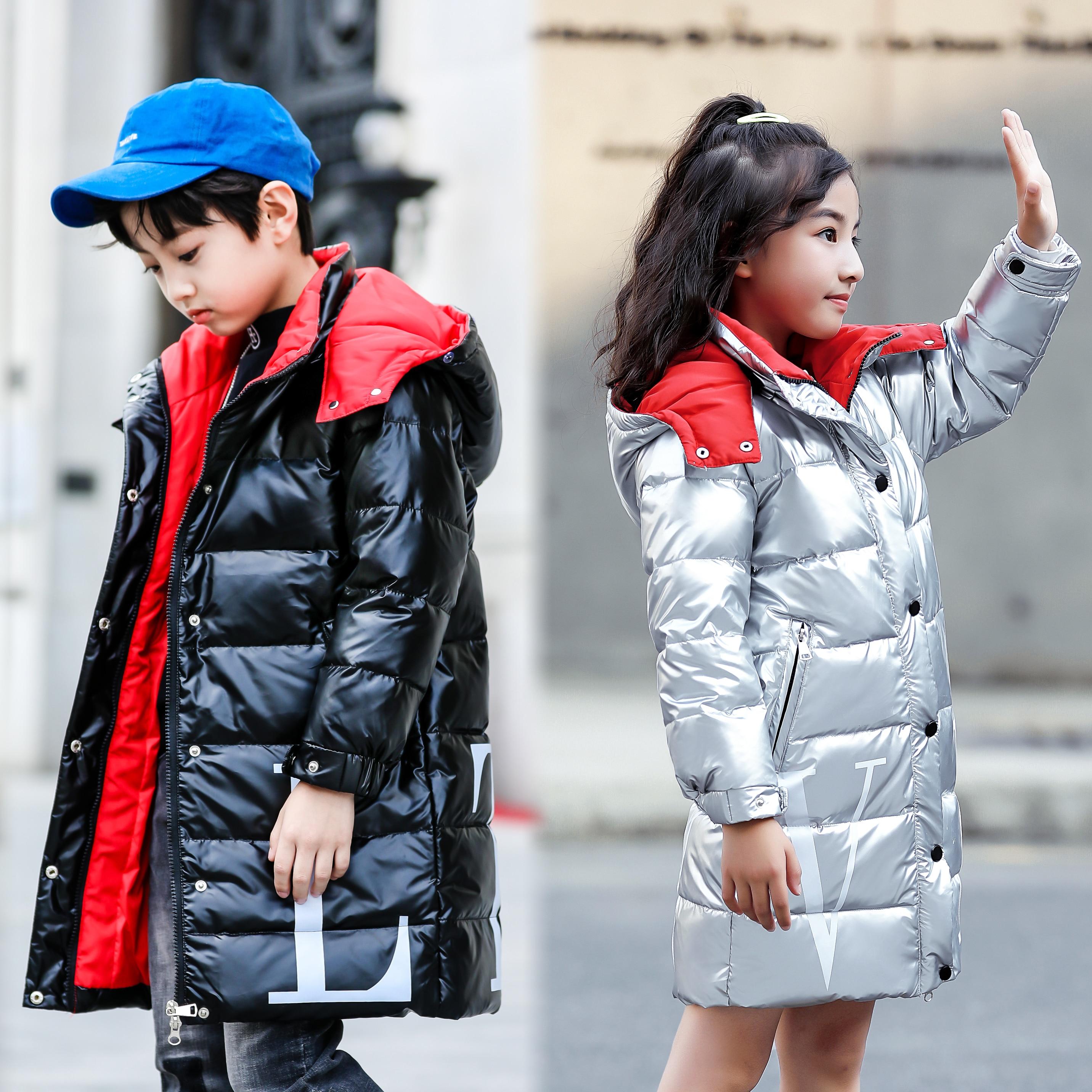 Fashion Girl Down Jacket Boy Warm Fur Hooded Coat Winter Baby Kids Parka Outwear
