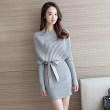 Spring and Autumn New Fashion Leisure Temperament Medium-length Loose Pullover Knitted Dresses