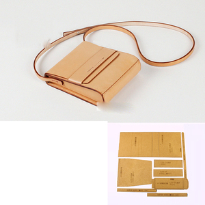 DIY leather craft women square shoulder bag kraft paper pattern template stencil 17x20x5cm