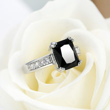 Male Female Black Ring 925 Anillos Silver Jewelry Vintage Wedding Rings For Men And Women Female Statement Party wholesale(China)