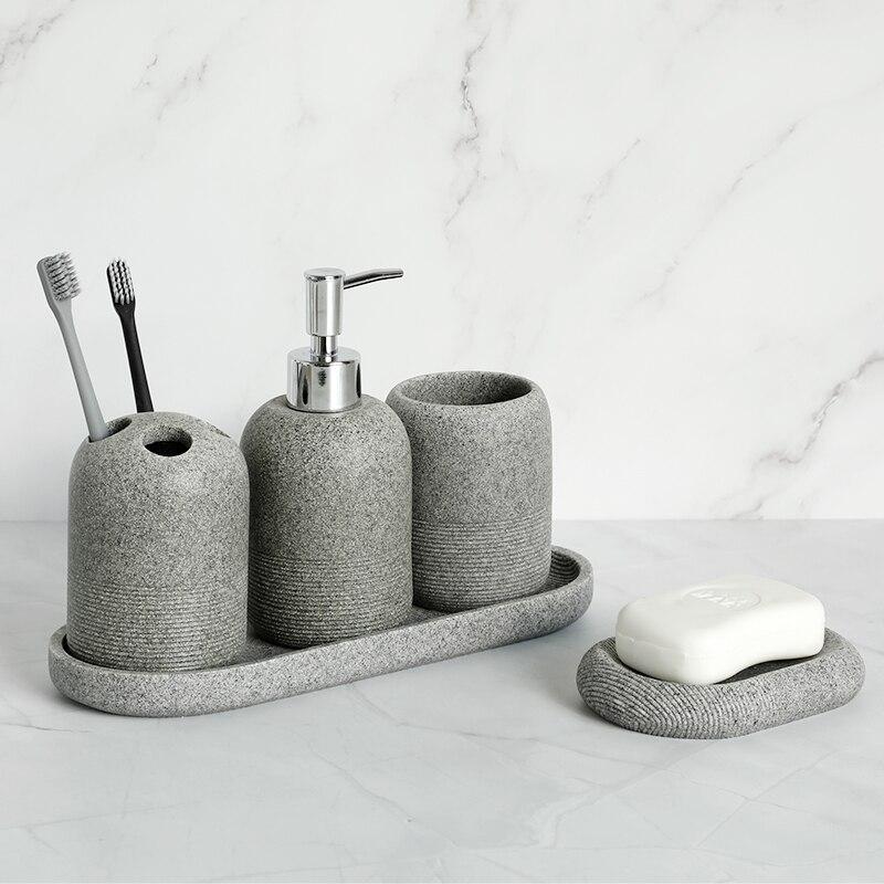 4/5/6 Pieces Bathroom Accessory Set Resin Soap Dispenser Rock Bathroom Set Toothbrush Holder Tumbler Tray Soap Dish Decoratio