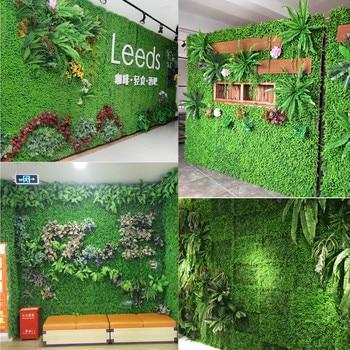 Césped Artificial planta fondo de bricolaje pared hierba falsa boda inicio decoración de la puerta de la tienda imagen Fondo Oficina Decoración césped de hierba