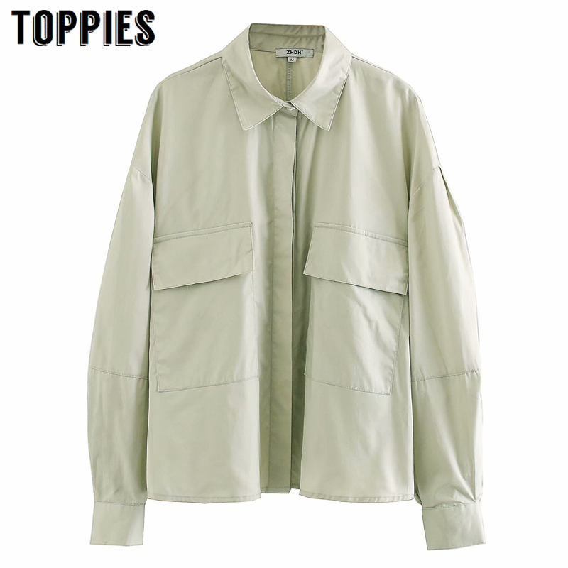 2020 Spring Long Sleeve Shirt Light Green Women Tops Vintage Leisure Shirt With Bags Streetwear
