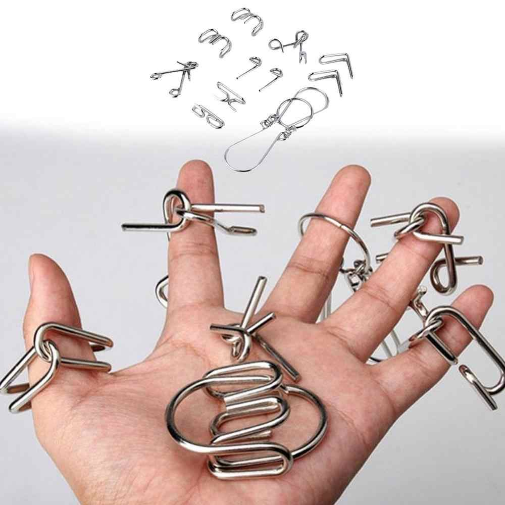 7pcs/Set Metal Wire Puzzles Magic Trick Compact Puzzle Ring Toy IQ Test Toys Funny Mind Game Portable Brain Teaser