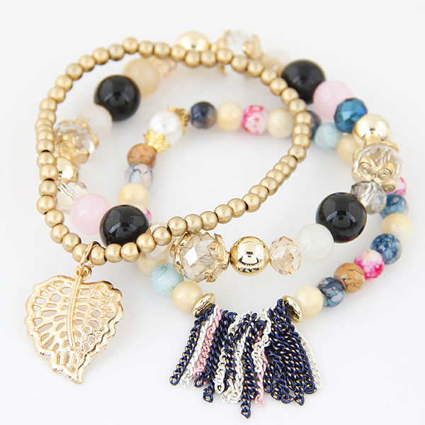 Special Euro-American fashion trend multi-layer bracelet with metal leaf temperament
