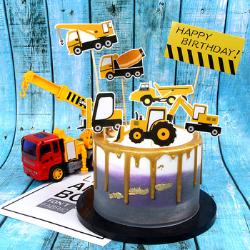 Excavator Cake Toppers DIY Road Sign Cupcake Topper Bulldozer Cake Flags Kids Happy Birthday Wedding Bride Party Baking Decor cake toppers flags hot air balloon star moon rainbow cake topper kids happy birthday wedding baby shower baking party diy xmas