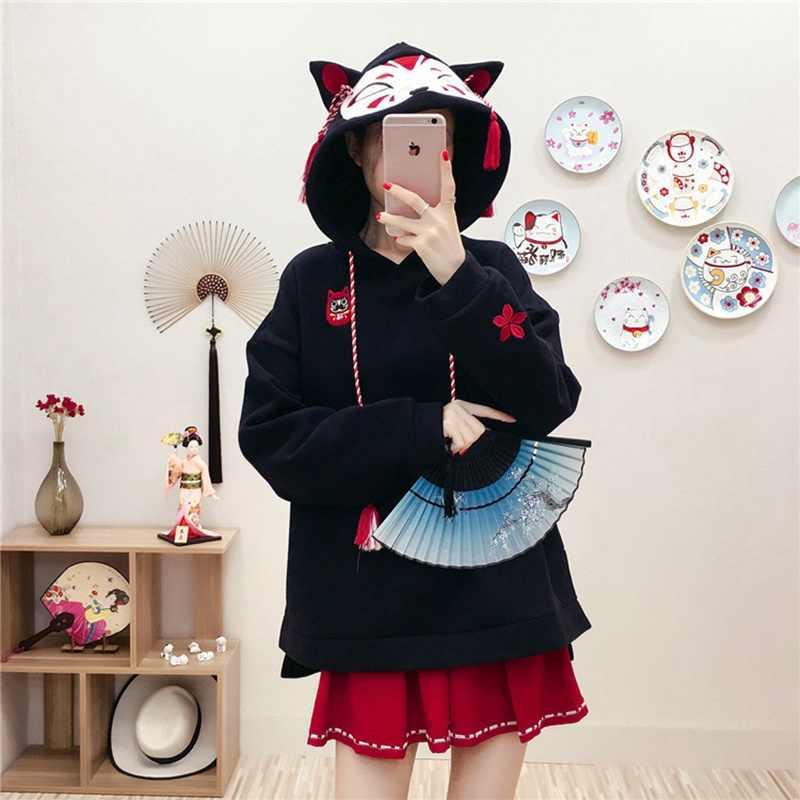 日本のかわいいファッション女性パーカー原宿かわいいキツネ耳スエットシャツさくらベルベットプルオーバー厚手冬 FF2234 トップス