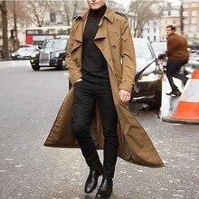 Новинка, длинный мужской плащ, Одноцветный, классический, весна-осень, куртка, Мужская, повседневная, свободная, британский стиль, Тренч, пальто, уличная одежда, пальто