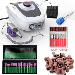 Image 1 - 32W 35000 giri/min macchina per Manicure elettrica macchina per trapano per unghie apparecchio per Manicure Pedicure con tagliaunghie strumento per punte da trapano