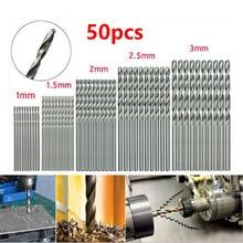 50 Pcs 1-3mm Micro Drill Bit Set Tiny Small Drill Bits Full-Ground Twist Drill High Speed Steel Boards Tiny Drill Bits For Dill