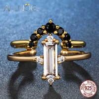 ALLNOEL Trendy Smaragd Rose Quarz Edelstein Ring Einstellbar Braut Set Feine Schmuck 925 Sterling Silber DIY Stapelbare Ringe