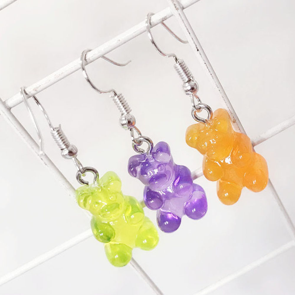 Japan And South Korea Cute Cartoon Bear Earrings Personality Creative Candy Color Earrings Resin Bear Candy Color Girl Earrings