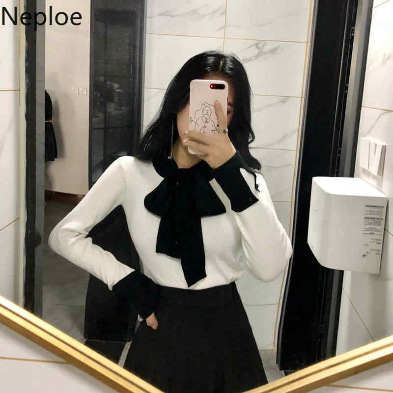 Neploe 2020 Primavera Coreano Mulheres de Slim Roupas de Inverno Camisola de Malha Jumper Lace Up Manga Comprida Pulôver Elegante Puxar Femme 90400