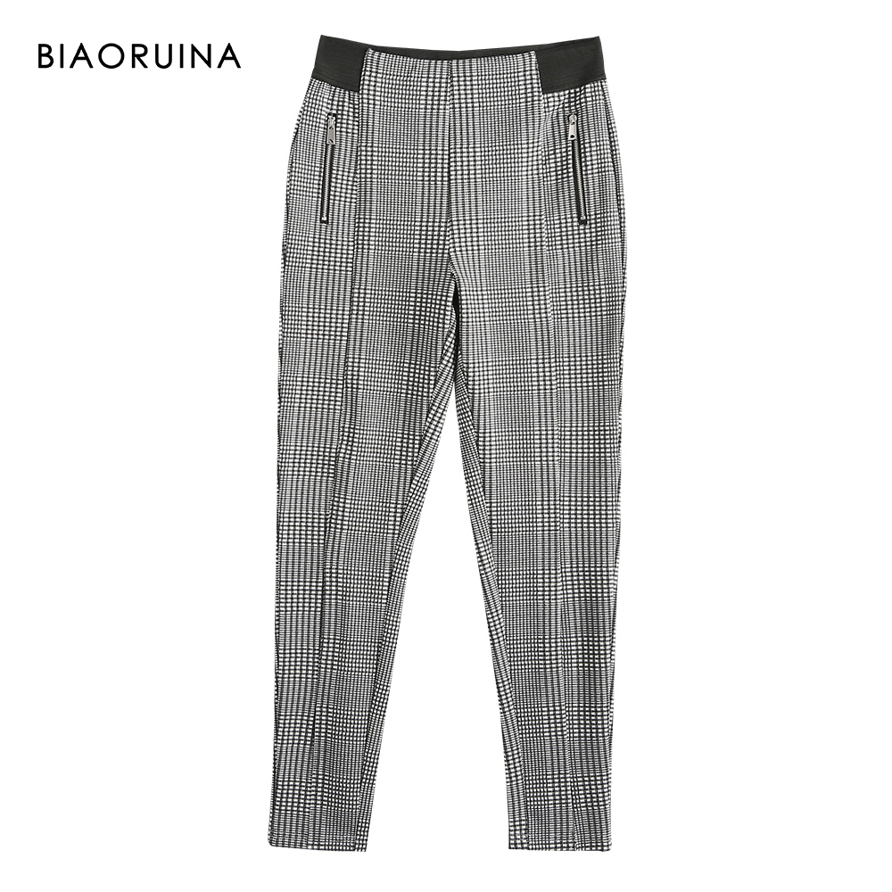 BIAORUINA Women's England Style High Waist Swallow Gird Plaid All-match Slim Stretchy Pencil Pant Trousers Ankle Length