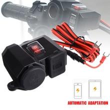 1pc Waterproof 12V Motorcycle Cigarette Lighter Power Socket 5V 2.1A Dual USB Chatger Red Voltmeter