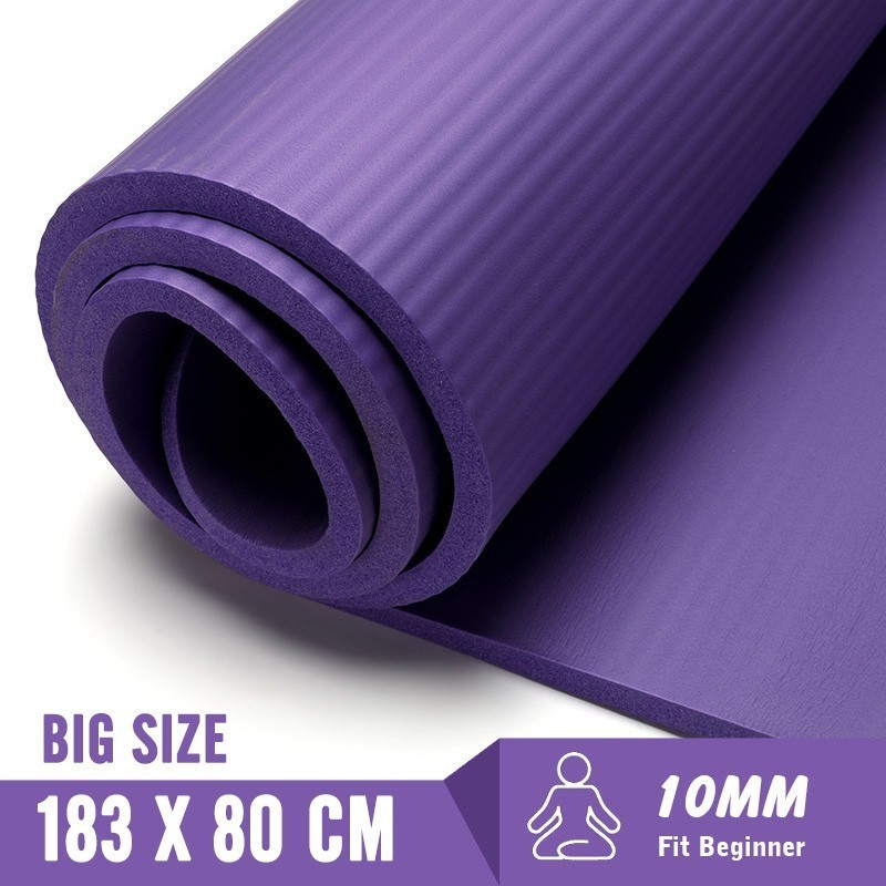 183X80cm Non-slip Yoga Mats For Fitness Mat Tasteless Pilates Gym Exercise 10MM Fitness Sports Pad With Bandages Big Size Tapete