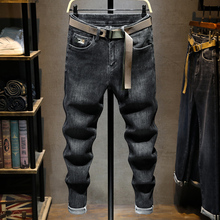 Korean Style Fashion Men Jeans Retro Black Gray Elastic Slim Fit Vintage Jeans Men Embroidery Designer Casual Denim Pencil Pants