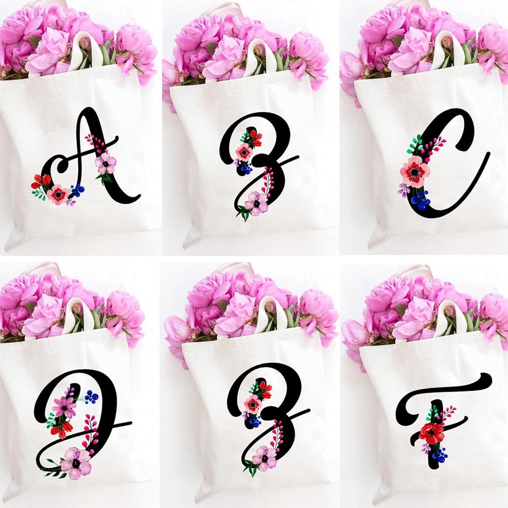 Flower Letter Font A B C D E F G Canvas Bags Women's College Ulzzang Harajuku Fashion Shoulder Bags Large Capacity Tote Bag