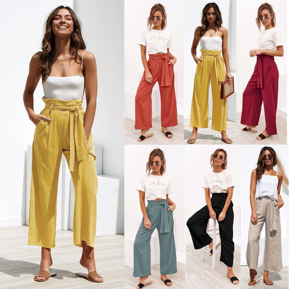 Pantalones De Vendaje De Tela Novedad Informal Primavera Y Verano Cuatro Colores Pierna Ancha De Estilo 2020 Para Mujer Pantalones Y Pantalones Capri Aliexpress