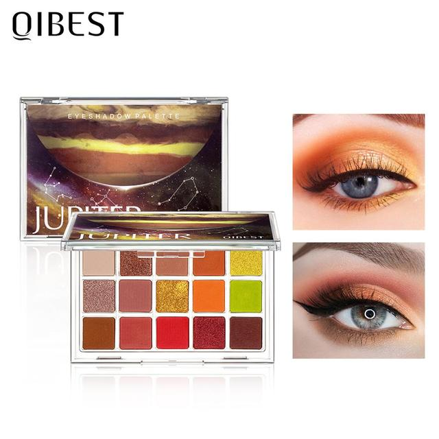 QIBEST Glitter Eyeshadow Palette 15 Colors Planet Holographic Pigment Matte Shimmer Eye Shadow Powder Shiny Eye Makeup Pallete 4