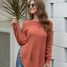 ALLNeon Casual Women Sweaters O-neck Long Sleeve Slit Hem Knitted Pullovers Fashion Winter Jumpers Lady Black Sweaters Plus Size brown cross straps front round neck slit hem knitted jumper