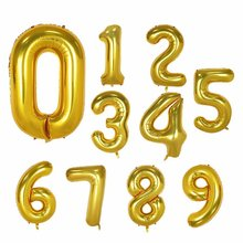 40-inch Lettered with Numbers Aluminum Film Balloon Large Size American Style with Numbers Balloon Aluminum Film Balloon Birthda