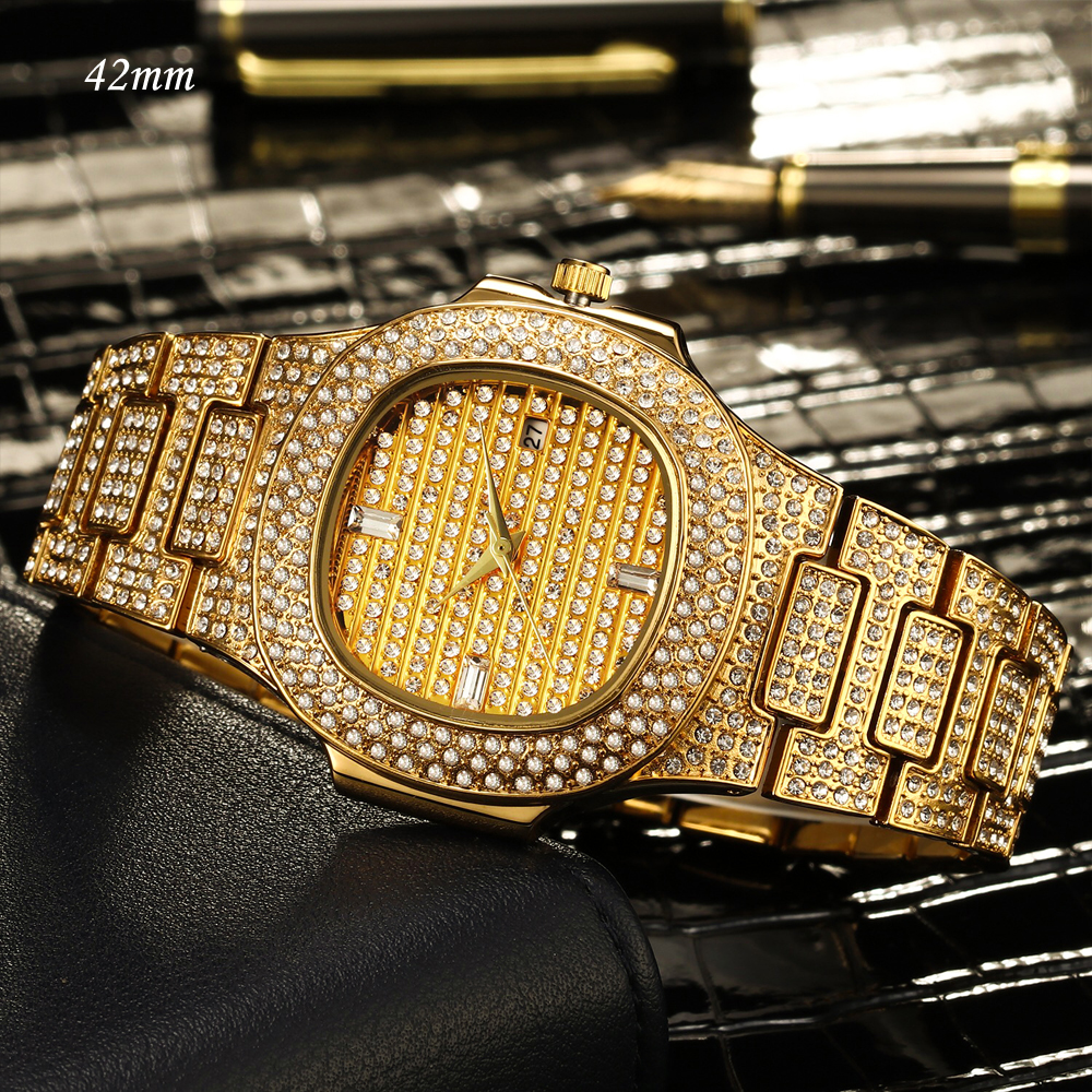 MISSFOX 18K Gold Watch Quartz Full Diamonds Stones Lovers Couple Watch Men's Women's Steel Bling Hip Hop Ice Out Watch Men Women
