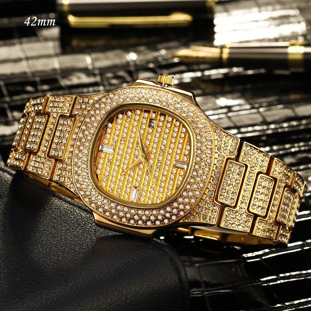 MISSFOX 18K Gold Watch Quartz Full Diamonds Stones Lovers Couple Watch Men's Women's Steel Bling Hip Hop Ice Out Watch Men Women