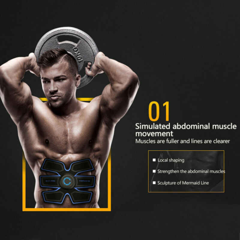 Otot Latihan Tubuh Sixpack Fit Set ABS Hitam Otot Listrik Simulasi Malas Perangkat Kebugaran Pelangsing Stiker Belt