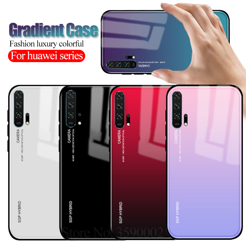 Gradient <font><b>Case</b></font> For <font><b>huawei</b></font> p30 pro p20 lite mate 20 X <font><b>p10</b></font> honor 20 10 light 9 8x nova 3 3i 3e 4 p smart plus y9 2019 <font><b>Glass</b></font> Cover image