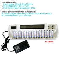 16 slots lcd carregador de bateria inteligente 16 bay carregadores para aa aaa ni mh ni cd oc grátis Carregadores     -