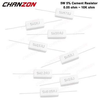 10 шт. 5 Вт 5% цементные проволочные резисторы 0,22 0,33 0,47 50 100 330 1 к 10 кОм 5 Вт Индуктивная фиксированная проволочная рана керамическое сопротивление
