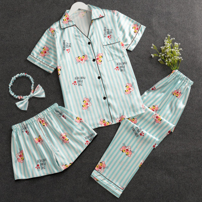 Pajamas Women's Summer Short-sleeved Viscose Korean-style Fresh Students Four-piece Set Summer Sexy Imitated Silk Fabric Homewea