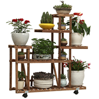 Flower Shelf Solid Wood Balcony Living Room Fleshy Antiseptic Plant Green Radiant Flower Pot Wrought Iron Indoor Space|Plant Shelves|Furniture -