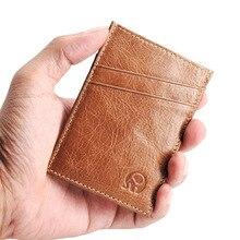 NEW Slim 5 Card Slots Genuine Leather Credit Card Holder Men Porte Carte Minimalist Wallet for Cards