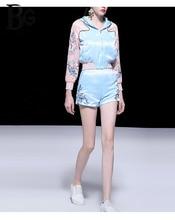 Baogarret Fashion Designer Spring Summer Shorts Sets Womens High Quality Flower Embroidery Casual Sweatshirts Two Piece Set