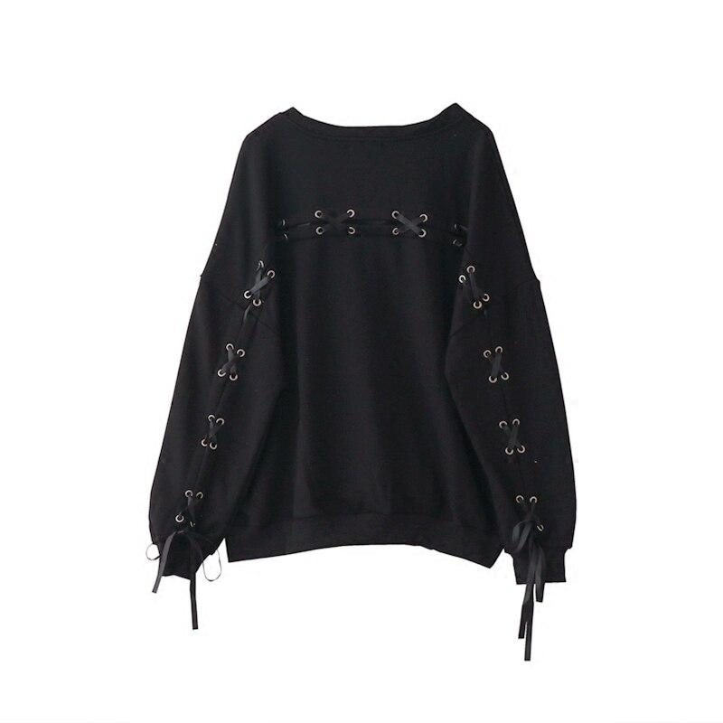 Lace Up Back Harajuku Sweatshirt Women Long Sleeve Bandage Pullover Shirts Casual Loose Tops Gothic Punk Autumn Streetwear