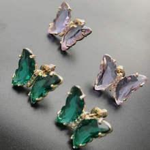 Модный Фиолетовый Маленький Сережка гвоздик в форме бабочки