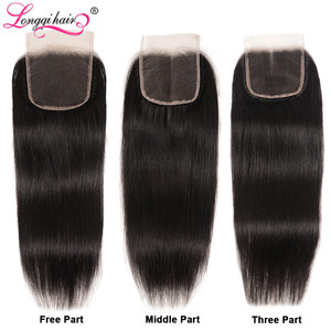 Image 5 - ストレートヘアの束でブラジル毛織りバンドル remy 毛 3 バンドルと閉鎖 longqi 人毛