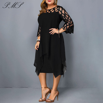 2019 L~5XL Women Plus Size Dress Black Sheer Lace Sleeve High Low Irregular Hem Swing Dress Casual Party Dresses Lace Dress D25 plus size textured long sleeve high low dress