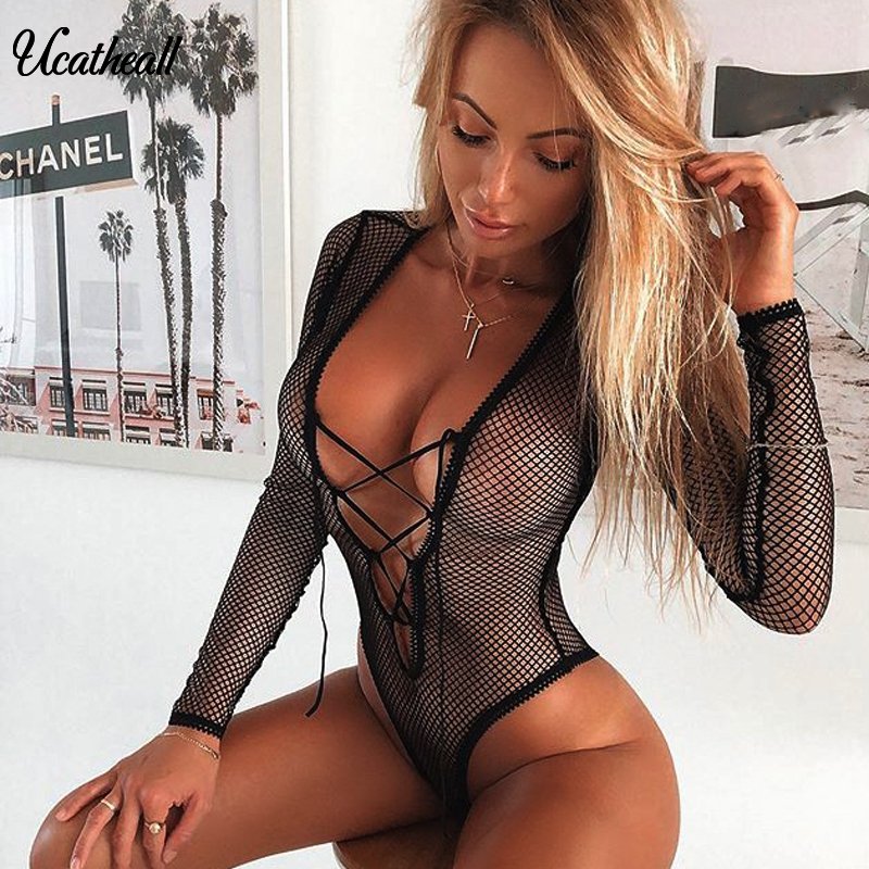 Lace Up Mesh Bodysuit Women Sexy Hollow Out FishNet Slim Party Jumpsuit See Through Long Sleeve Deep V Bodysuits
