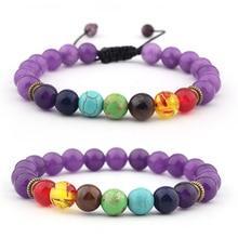 8mm 7 Chakra Charm Colorful Beads Weaving Bracelets Jewelry For Women  Natural Stone Bracelet Men Female Pulseira Feminina