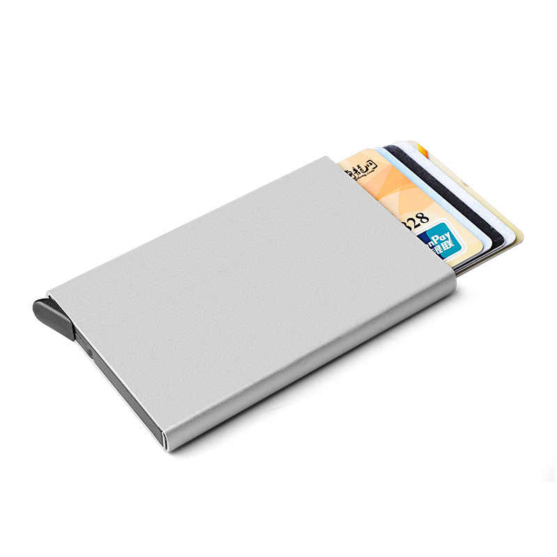 Cartera de Metal Rfid soporte de tarjeta de crédito de acero inoxidable automático soporte de tarjeta de identificación de aluminio Delgado Anti Rfid Protector Porte Carte