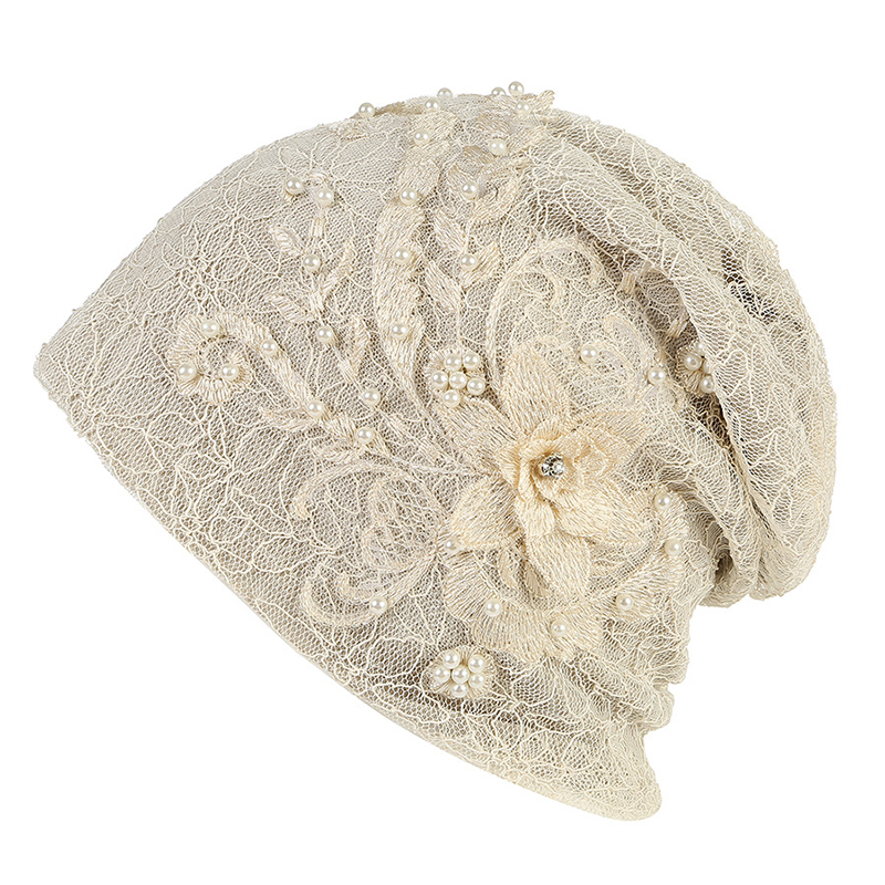 Women's Winter Slouchy Beanie Cap Girls Floral Chemo Hat Spring Turban Elegant Pink Accessories Hair Loss Head Scarf Autumn Hat