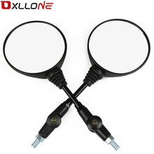 A Pair Black Universal Mirror Motorcycle Rearview 650 Anti-fall Folding Round Side